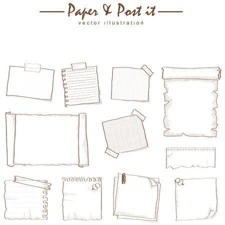 Carta e post-it disegno, schizzo, collezione di vettore Archivio Fotografico - 31984964