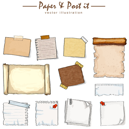 hand torn: watercolor of paper collection sketch drawing vector