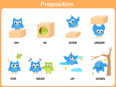 Preposition of motion for preschool 矢量图像