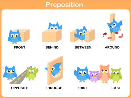 Preposition of motion for preschool Illustration