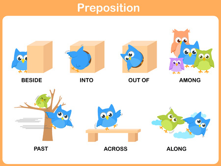Preposition of motion for preschool 일러스트