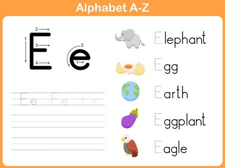 alfabeto con animales: Alphabet Tracing Hoja de trabajo: Escribir AZ Vectores