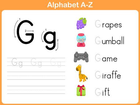 vocabulary: Alphabet Tracing Worksheet: Writing A-Z Illustration