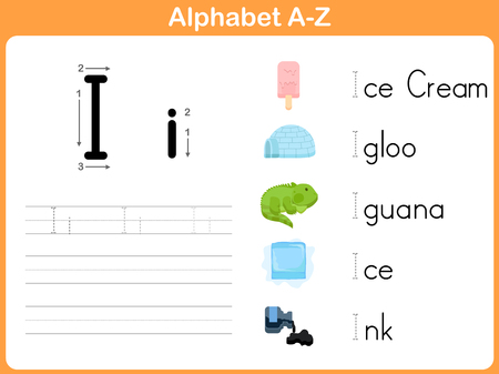 igloo: Alphabet Tracing Worksheet: Writing A-Z Illustration
