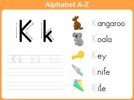 Alphabet Tracing Feuille de travail: écriture AZ Vecteurs