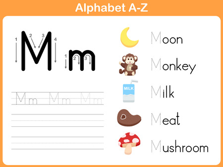 Alphabet Tracing Worksheet: Writing A-Z 向量圖像