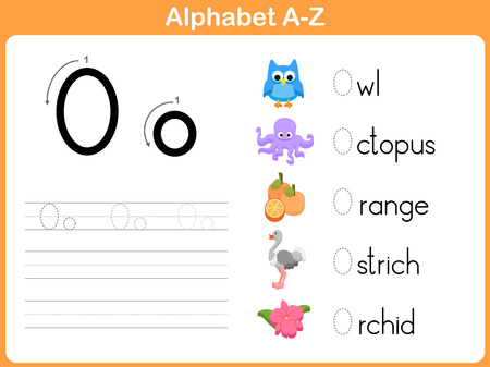 Alphabet Tracing Worksheet: Writing A-Z Vettoriali