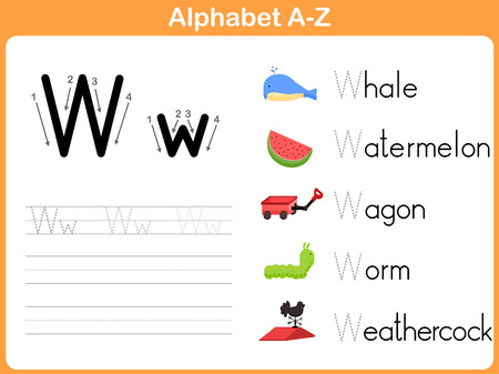 Alphabet Tracing Worksheet: Writing A-Z  イラスト・ベクター素材