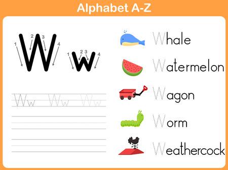 Alfabeto Tracing Hoja de trabajo: Escribir AZ Foto de archivo - 31984934