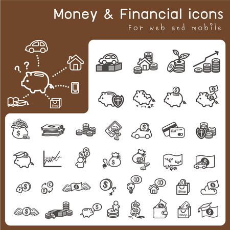 Set of icons for financial and money Vector