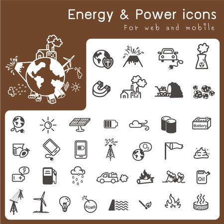 Set van de iconen voor energie en kracht