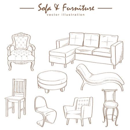家具コレクション スケッチ描画ベクトル