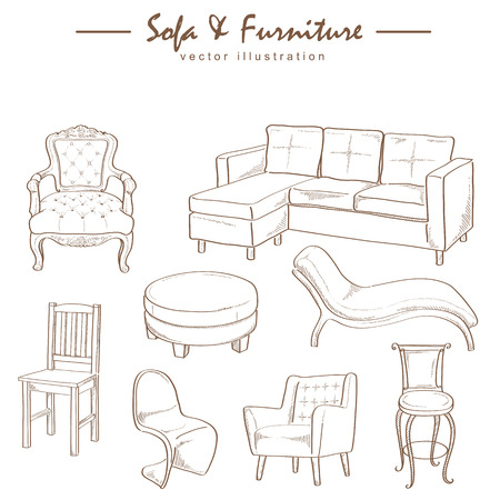classic furniture: furniture collection sketch drawing vector