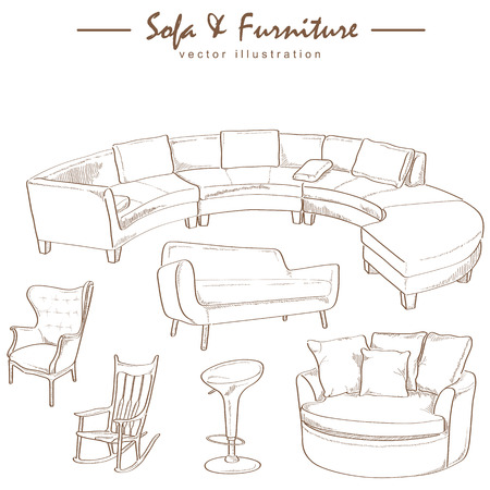 furniture collection sketch drawing vector Vector