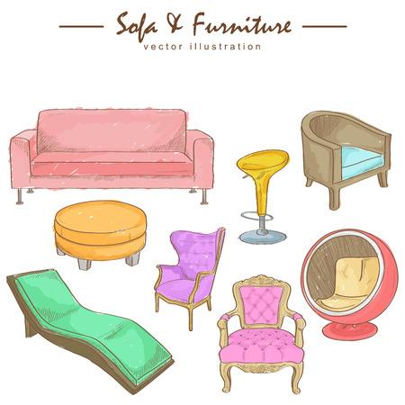 Watercolor sketch of furniture Vector