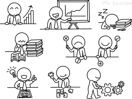 dibujos lineales: Dibujo a lápiz como vector de carácter empresarial Vectores