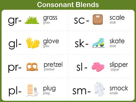 Consonant Blends Worksheet for kids  Illustration