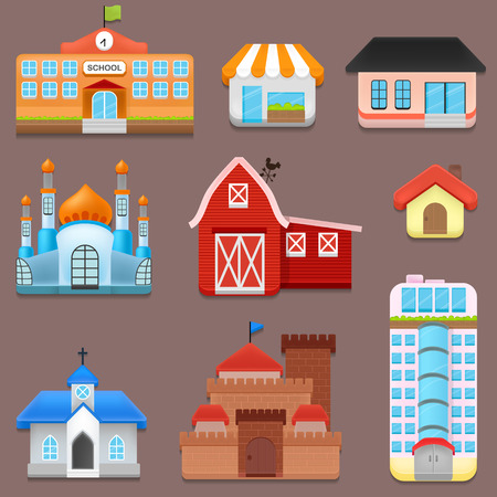 building exteriors: Collection of City and Town Building Illustration