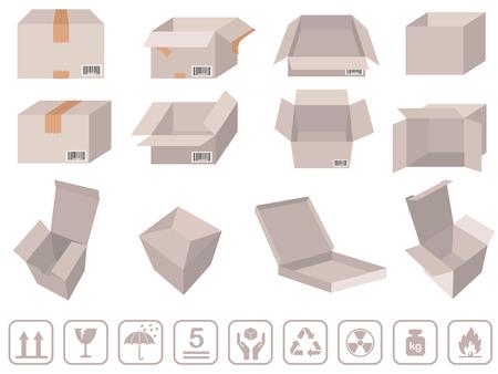 brown box: Brown scatola di imballaggio - Vector scatole di cartone con segni Vettoriali