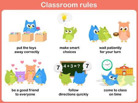 Zasady w klasie dla dzieci Ilustracje wektorowe