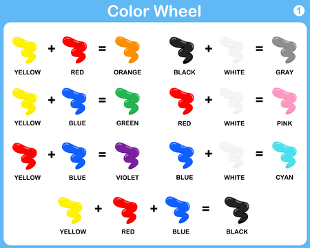 Color Wheel Worksheet - Red Blue Yellow color : for kids
