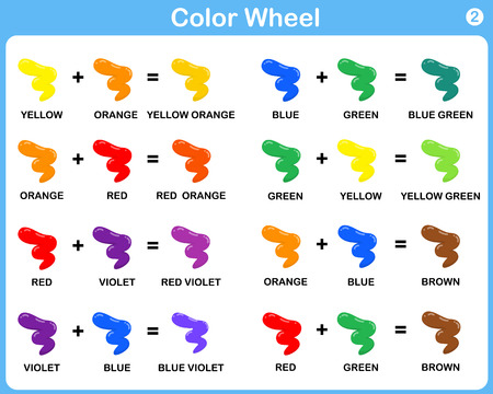 tertiary: Color Wheel Worksheet - Red Blue Yellow color : for kids