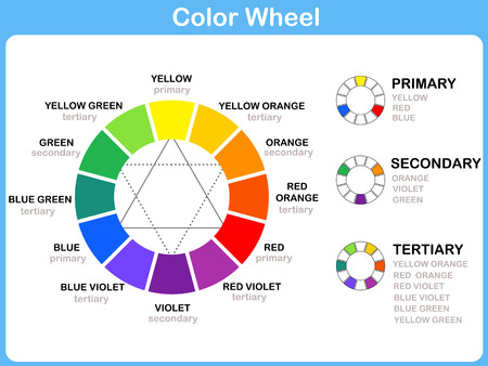 wheel: Color Wheel Worksheet - Red Blue Yellow color : for kids