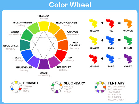 red color: Color Wheel Worksheet - Red Blue Yellow color : for kids