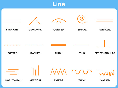 lineas rectas: Inclinándose Line Hoja de trabajo para la Infancia Vectores