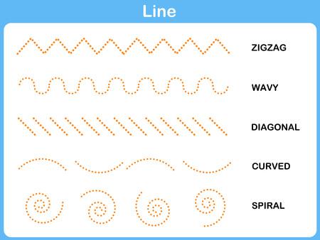 Leaning Line Worksheet for  Children