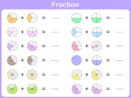 fraction: fraction for education Illustration