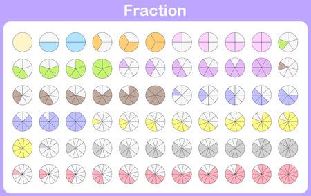 fracción para la educación Ilustración de vector