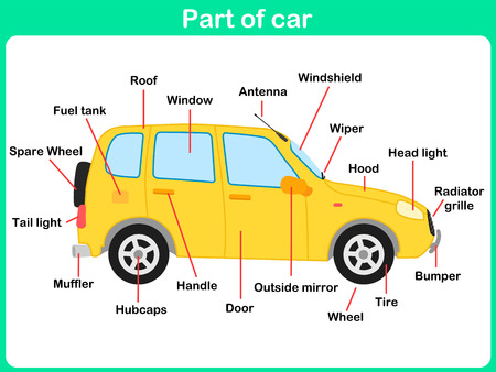 hubcap: Leaning Parts of car for kids -  Worksheet