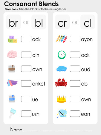 fill in: Consonant Blends : fill in the blank with the missing letter - Worksheet for education