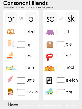 blends: Consonant Blends : fill in the blank with the missing letter - Worksheet for education