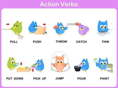 preescolar: Acci�n verbos Picture Dictionary (Actividad) para los ni�os