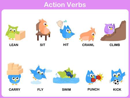 Actiewerkwoorden Picture Dictionary (Activity) voor kinderen Stock Illustratie