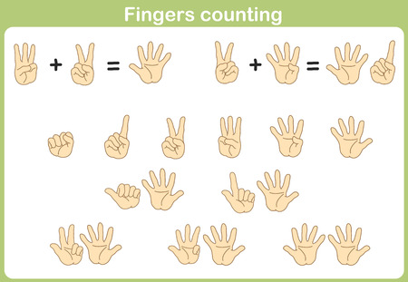 Finger Counting for Adding and Subtracting 向量圖像
