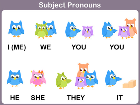 Subject pronouns Flashcards with Picture  for kids 向量圖像