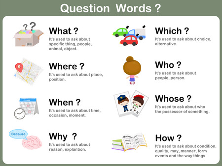 child studying: Question Word Flashcards with Picture for kids