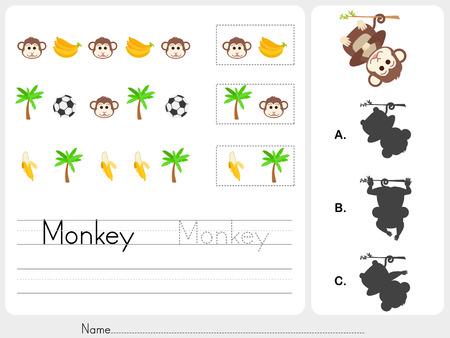 banana sheet: pattern images - Worksheet for education Illustration