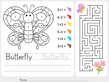 preescolar: Laberinto juego, Color por n�meros - Hoja de trabajo para la educaci�n Vectores