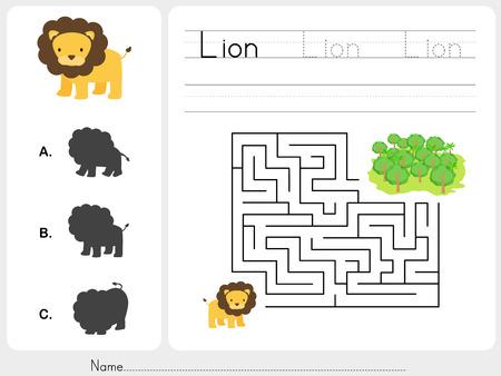 Doolhof spel werkblad voor het onderwijs Stock Illustratie