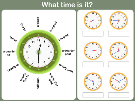 Telling time worksheet. write the time shown on the clock Imagens - 40950709