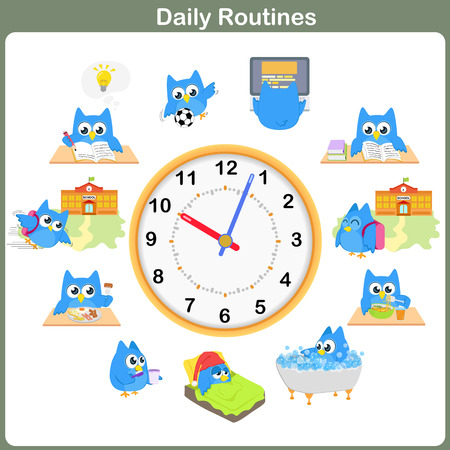 cartoon clock: Daily Routines sheet.   Worksheet for education