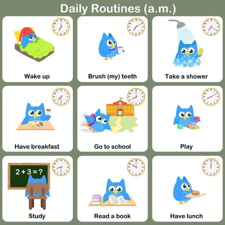 Dagelijkse routines op am vel. Werkblad voor onderwijs