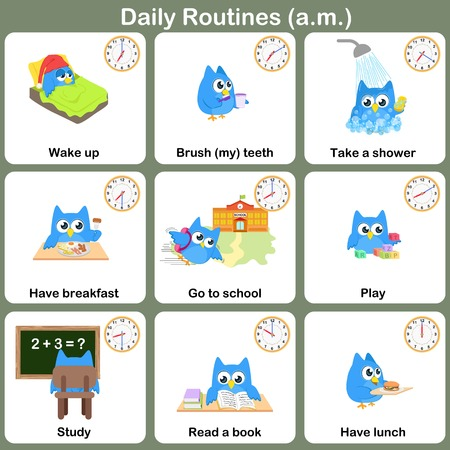 cartoon reading: Daily Routines at a.m. sheet.   Worksheet for education Illustration