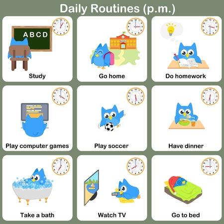Dagelijkse routines op pm vel. Werkblad voor onderwijs