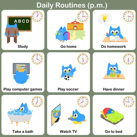 pm: Daily Routines at p.m. sheet.   Worksheet for education