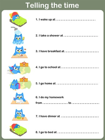 clock cartoon: Daily Routines Worksheet.   Telling the time Illustration